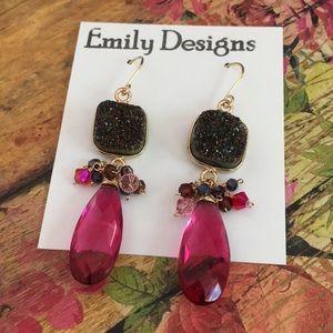 Magenta fancy druzy earrings sapphires gold